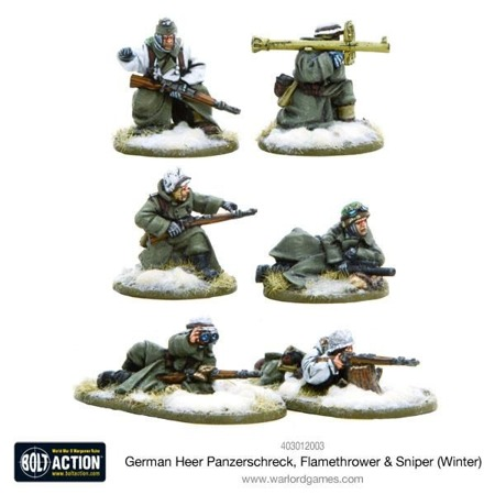 Bolt Action - German Heer Panzerschreck, Flamethrower & Sniper teams (Winter)